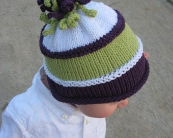 Custom Squigglies on Top Purple, Lime Green, White Baby Beanie