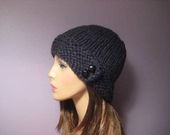 Knit Hat - Chunky Charcoal Warm Stylish Knit Hat with Genuine Leather Buttons - Winter Hat