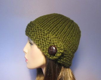 Knit Hat - Warm Green Chunky Knit Hat with Genuine Leather Button - Winter Hat