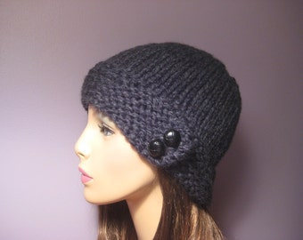 PATTERN Button Brim Knit Hat, PDF Pattern, Knit Hat Pattern