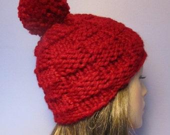 PATTERN Basketweave Knit Hat with Pom Pom PDF