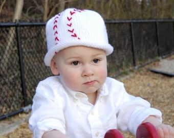 Hand Knit Baseball Baby Hat,Take Me Out to the Ball Game Cotton Baby Baseball Hat