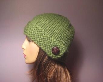 PATTERN Button Brim Knit Hat PDF