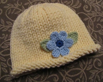 Knitted Baby Hat - Yellow Hand Knit Baby Hat with Flower