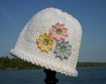 Knitted Baby Hat - White with Flowers Baby Hat