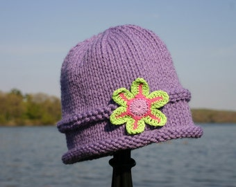 Knitted Baby Hat - Purple Hand Knit Baby Hat with Flower