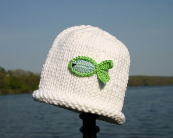 Fish Baby Hat, Baby Fishing Hat, White Baby Hat, Baby Hat, Fishing Hat, Hand Knit Baby Hat, Knitted Baby Hat, Fishing Baby, Baby Fish Hat