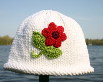Knitted Baby Hat - White Hand Knit Baby Hat with Flower