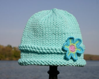 Knitted Baby Hat - Aqua Hand Knit Baby Hat with Flower