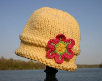 Knitted Baby Hat - Yellow Hand Knit Baby Hat with Pink Flower