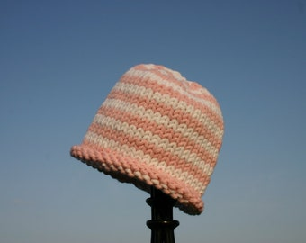 Knitted Baby Hat - Classic Pink and White Striped Hand Knit Baby Hat