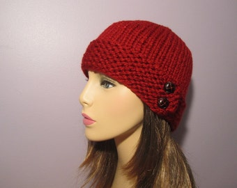 Knit Hat - Red Hand Knit Hat with 2 Genuine Leather Dark Brown Buttons