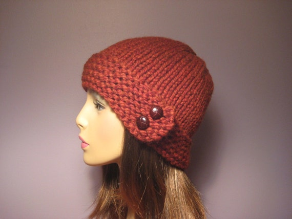 PATTERN Button Brim Knit Hat PDF