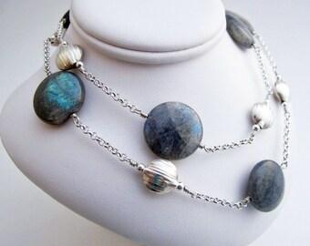 Labradorite and Silver Discs Necklace