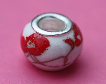 porcelain flower charm bead