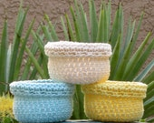 Storage Bins, Crocheted, Organize, Cotton Baskets, Yellow, Blue, Natural