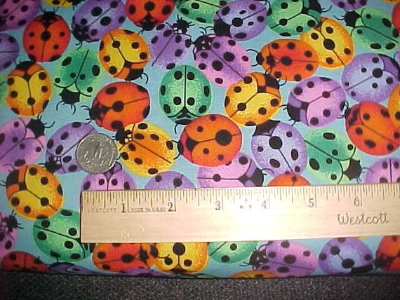 Packed Colored Lady Bug Fabric