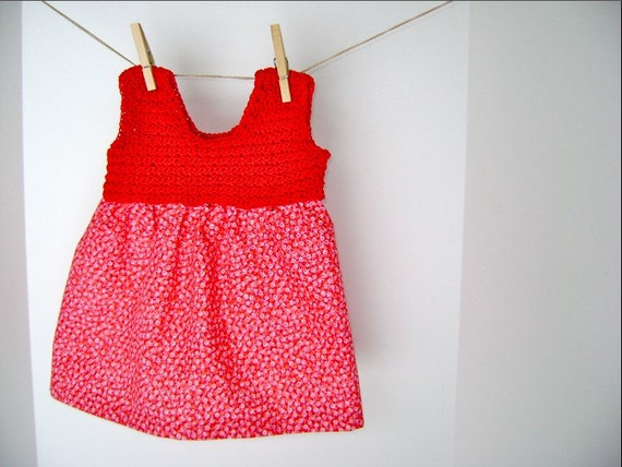 Japan Relief Donation Item - Hand Crocheted Red Hots Flower Dress