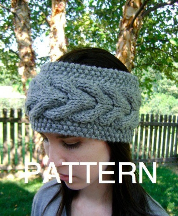 Knit Horseshoe Cabled Headband Pattern - INSTANT DOWNLOAD
