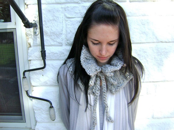 Knit Scarf - Chic and ON SALE 60 reg 70 - Ruffled Neck Warmer - Great for Woman or Teen