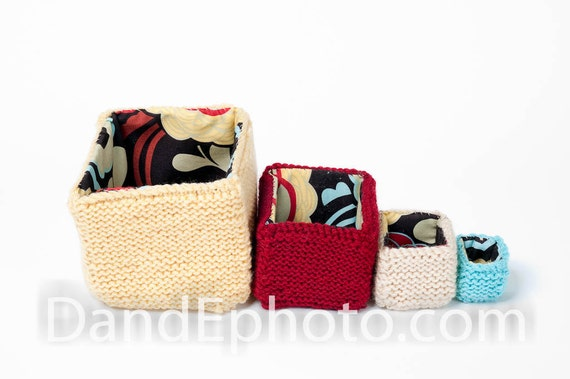 Nesting Boxes - Featured in Australia's Shop 4 Kids Magazine 2011 - Hand Knit and Lined  - Great for Play or Storage - Perfect for Teacher