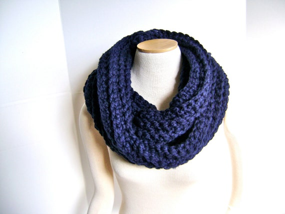 Crochet Cowl Scarf - Black Friday Etsy Cyber Monday SALE 45 reg 64 - Super Wide Mobius in Classic Navy - Chunky and Chic