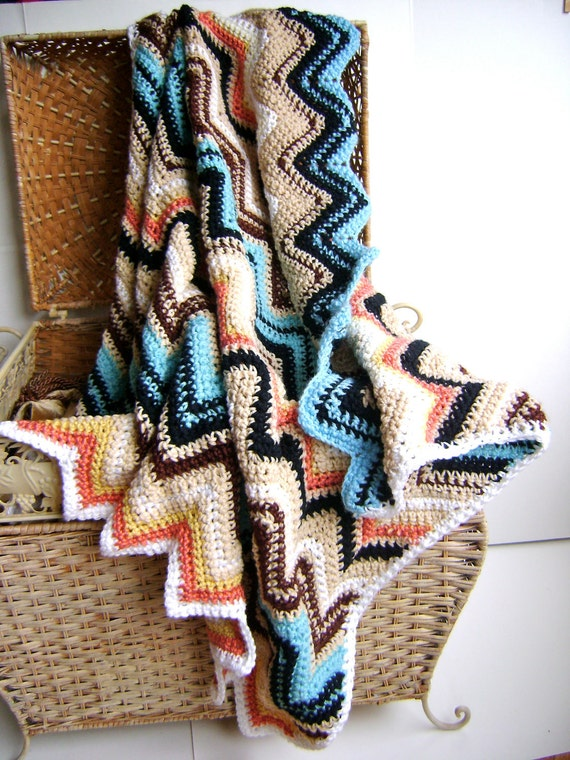 Missoni Inspired Crochet Baby Blanket - Perfect for the Stroller - Perfect for the Nursery