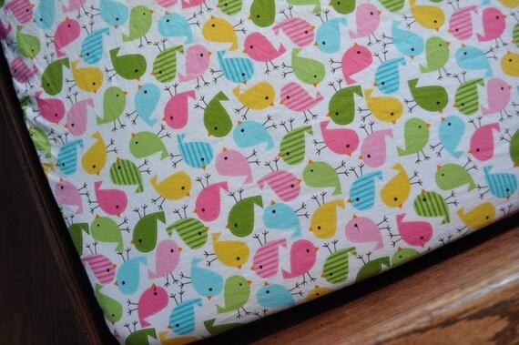 Bright Birds Pink Crib Sheet, Baby Toddler Bed Sheet