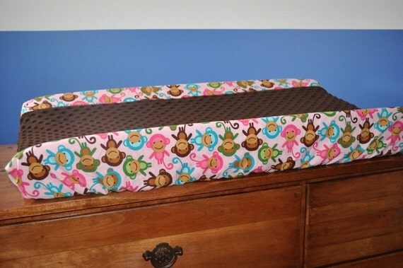 Custom Contour Change Pad Cover, Pink and Brown Monkeys with Chocolate Brown Minky