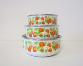 RESERVED for Nicole -  enamel bowls, nesting, red strawberry