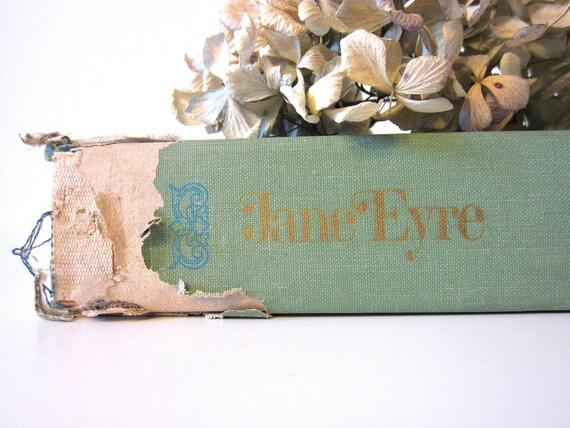 vintage Jane Eyre book, Charlotte Bronte classic novel, turquoise