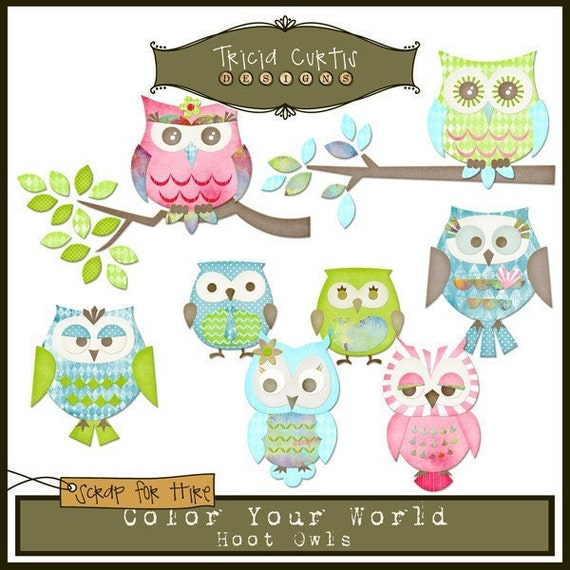 Hoot Owls - Color Your World Paper Piecing Clipart Elements for Invitations, Card Design and Scrapbooking - Instant Download