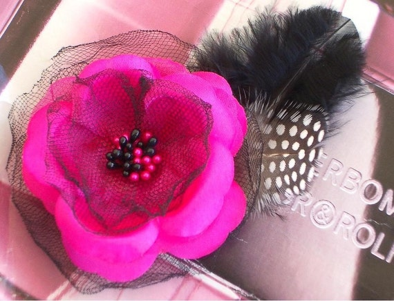 Black and Fuschia Floral Flower Hair Clip Fascinator With Beads Feathers Bridal