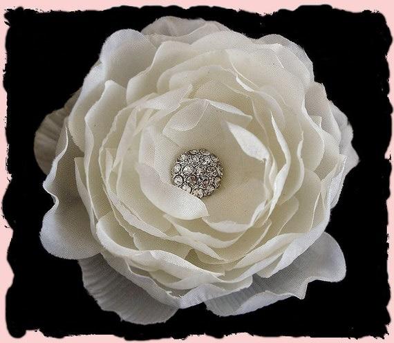 Julia Petite -- Bridal Light Ivory Silk Flower Hair Clip Fascinator with Rhinestone for Weddings or Prom