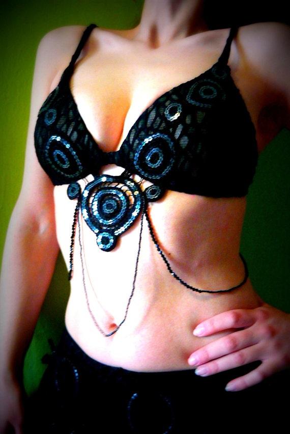Mata Hari Secrets Bra for Tribal Fusion, Gothic, Burlesque, Belly Dance Costume