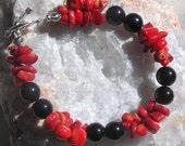 "Black Onyx & Red Coral Crystal Gemstone Bracelet ""Scarlette Noir"", Black Bracelet, Red Bracelet, Chakra Bracelet"