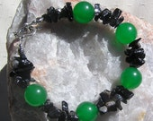 "Green Agate & Black Onyx Crystal Gemstone Bracelet ""Hellebore"", Green Bracelet, Black Bracelet, Chakra Bracelet, Beaded Bracelet, Gemini"