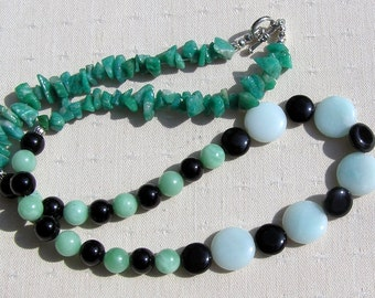 "Amazonite & Black Onyx Crystal Gemstone Necklace ""Amazon Mist"", Clearance Price, Green Necklace, Chakra Necklace, Black Necklace"