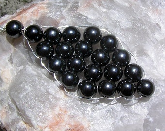 Black Hematite Gemstone Beaded Woven Leaf Pendant, Special Offer Price