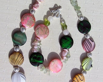 "Shell Necklace & Bracelet Set, Mother of Pearl with Green Prehnite and Pink Opal Gemstones ""Rainbow Fantasia"", Shell Necklace, Opal Necklace"