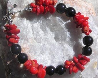 """Black Onyx & Red Coral Crystal Gemstone Bracelet """"Scarlette Noir"""", Black Bracelet, Red Bracelet, Chakra Bracelet, Coral Bracelet,"""