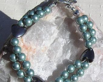 "Crystal Gemstone Bracelet, Hematite Heart & Green Shell Pearl ""Laurel"", Green Bracelet, Pearl Bracelet, Black Bracelet, Black Heart Bracelet"