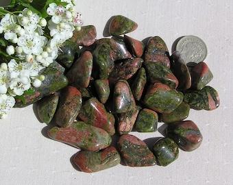 10 Unakite Crystal Tumblestones, Green Crystals, Crystal Collection, Chakra Crystals, Meditation Stone, Third Eye Crystals, Scrying