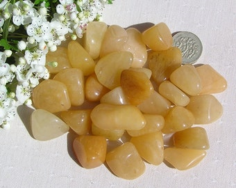 10 Yellow Aventurine Crystal Tumblestones, Crystal Collection, Yellow Crystals, Chakra Crystals, Meditation Stone, Libra, Worry Stone