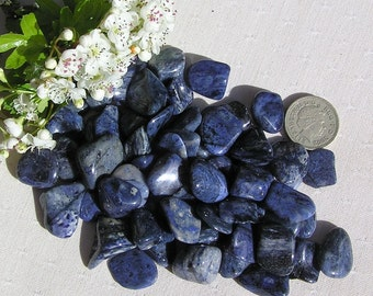 12 Blue Dumortierite Crystal Tumblestones, Crystal Collection, Blue Crystals, Chakra, Reiki, Blue Tumblestones