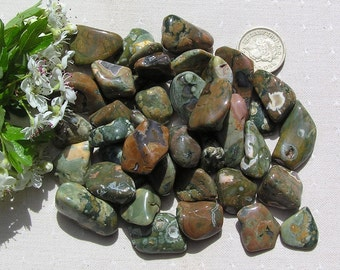 10 Rhyolite Crystal Tumblestones, Green Crystals, Crystal Collection, Meditation Stone, Chakra Crystals, Brown Crystals, Worry Stone