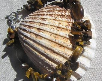 """Gold Tiger Eye Crystal Gemstone Bracelet  """"Golden Eye"""", Chakra Bracelet, Gold Bracelet, Leo Bracelet, Protective Bracelet, Brown Bracelet"""
