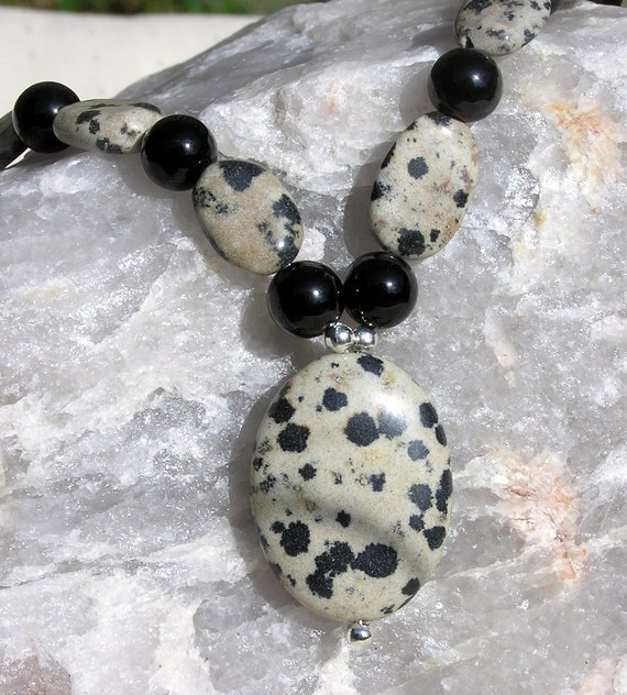"Dalmatian Jasper & Black Onyx Gemstone Necklace ""101 Magic Moments"" Special Offer Price"