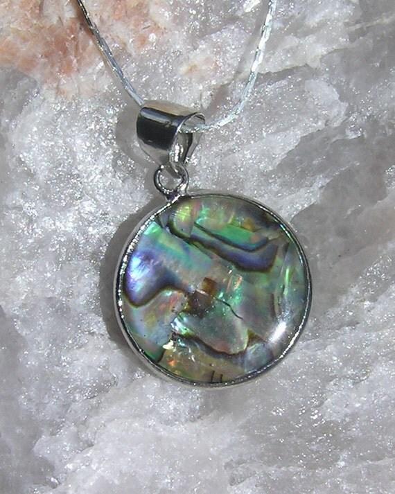 Paua Shell (Abalone) Pendant - Sterling Silver