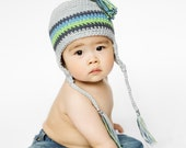 Ear flap Tassle hat - light grey, dark grey, blue and green- choose your size